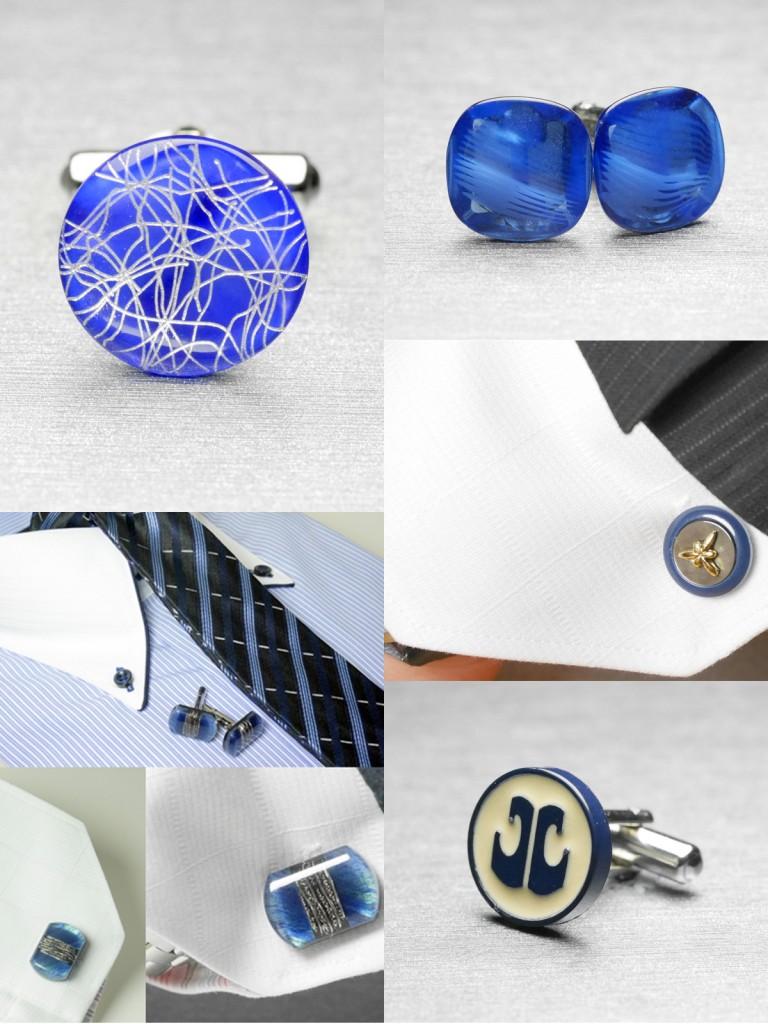 ブルーのカフスボタン,付け方,選び方
